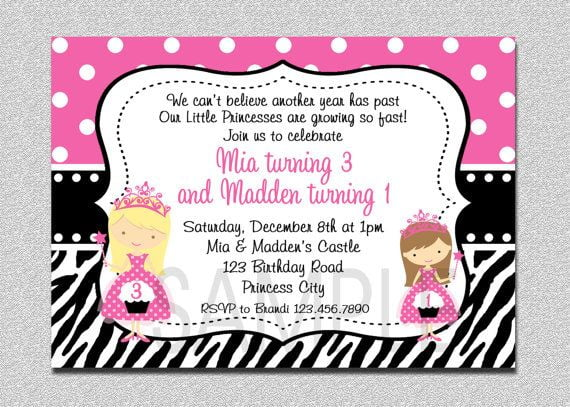twin princess birthday invitations