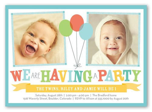 twins birthday invitations cards