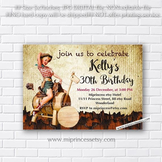vintage western birthday invitations