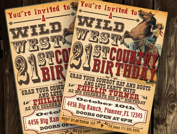 western 21st birthday invitations