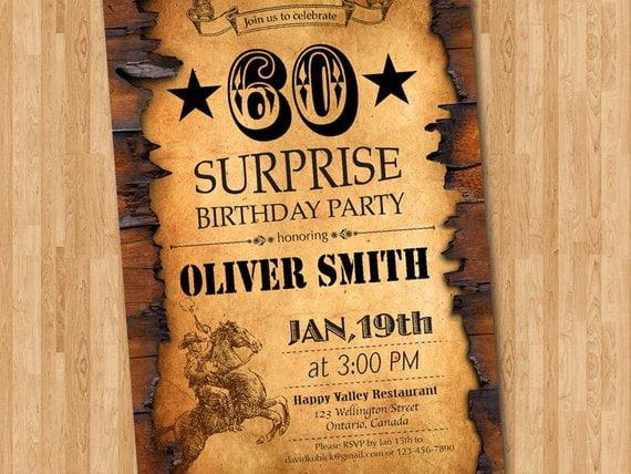 western 50th birthday invitations