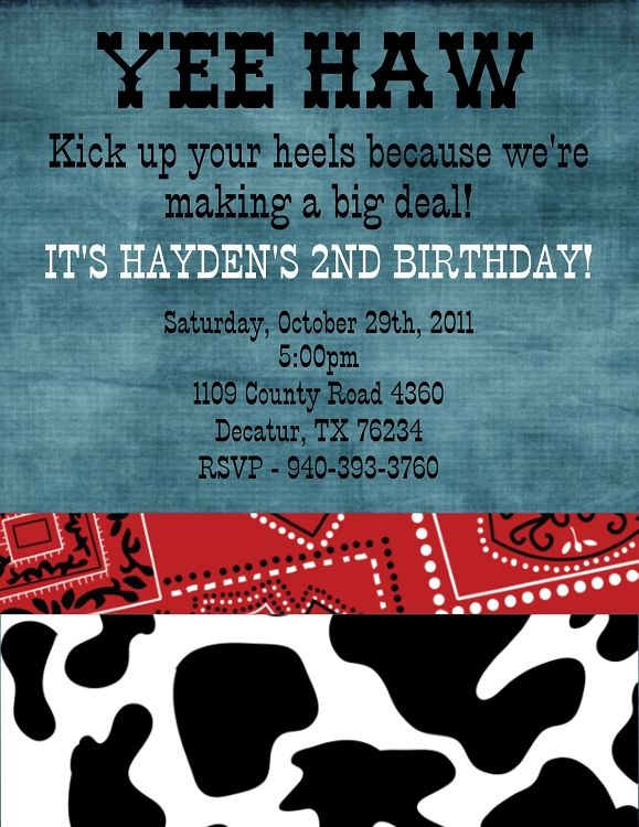 western birthday party invitations printable
